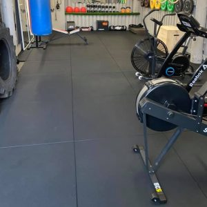 Rubber Mats for Garage Gyms 20mm 16sqm, Black, Straight Bevelled Edges, Virgin Rubber Fitness Flooring